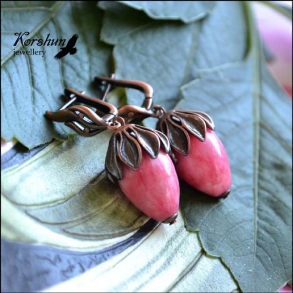 Серьги Камелия, изготовлен из: Родохрозит, Медь,