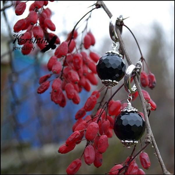 Серьги Черная роза: Обсидиан, Серебро 925 пр,
