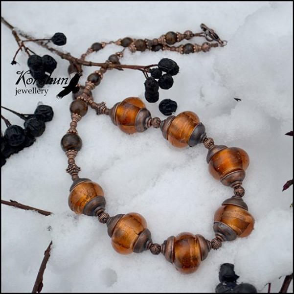 Колье Райские яблочки: Бронзит, Медь, Ювелирный сплав, Стекло