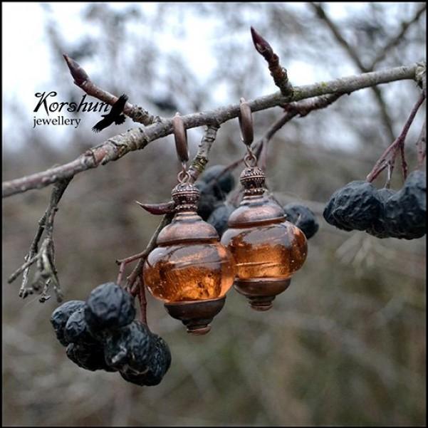 Серьги Райские яблочки: , Медь, Ювелирный сплав, Стекло