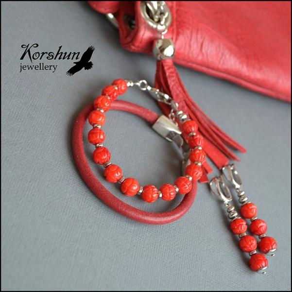 Комплект Red: Коралл, Родий, Серебро 925 пр,