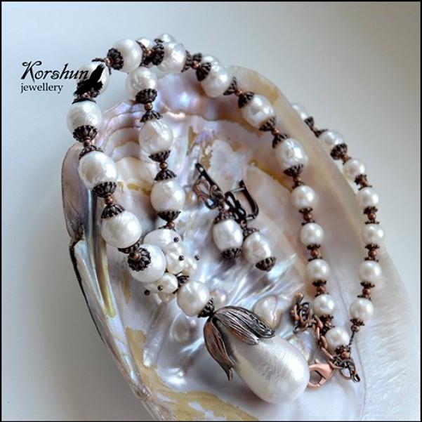Комплект Рождённая пеной морской: Жемчуг, Медь,