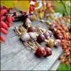Серьги Золотая осень: Яшма, Родий,